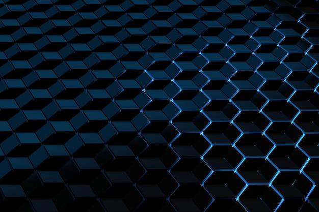 Futuristische achtergrond met een patroon van zeshoekjes kubussen verlicht door blauw licht.