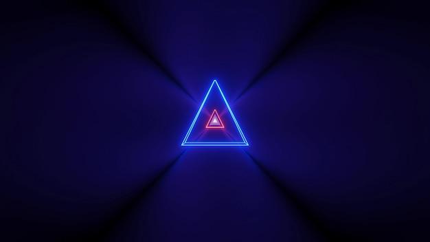 Futuristische achtergrond met gloeiende abstracte neonlichten en een driehoeksvorm in het midden