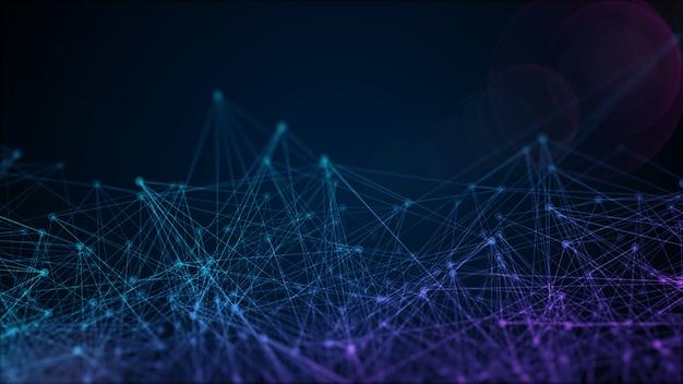Futuristische achtergrond met rendering verbindingen van stippen en lijnen, web internet concept. abstract geometrisch patroon met chaotische moleculaire structuur op donkerblauw