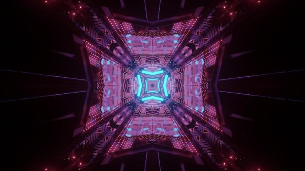 Futuristische architectuur concept abstracte visuele achtergrond 3d illustratie van donkere ondergrondse passage perspectief met gloeiende neon geometrische lijnen en lichtreflecties