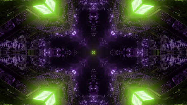 Futuristische architectuur en technologie concept abstracte 3d illustratie achtergrond met geometrische vormen en levendige neonverlichting