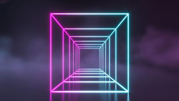 Futuristische blauwe en paarse neonbuislichten van sci fi die met rookmuur gloeien. 3d-weergave