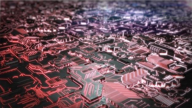 Futuristische creatieve sci-fi gloeiende achtergrond. 3d-weergave