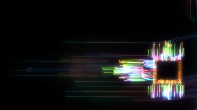 Futuristische digitale intelligente chip gegevensverwerkingstechnologie vol vermogen en energie en vervaging circuit hoge snelheid overdracht onscherpte laser circuit achtergrond