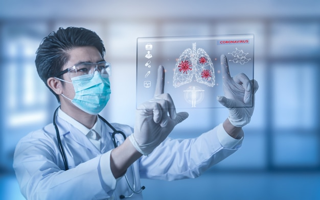Futuristische innovatieve corona covid-19-virusarts draagt masker virtuele digitale ai infographic datatechnologie