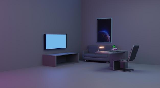 Futuristische interieur woonkamer, 3d-rendering