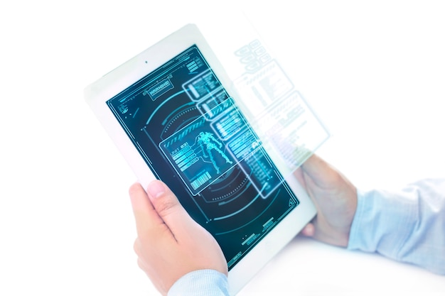 Futuristische ipad met holographic gaming-menuzone.