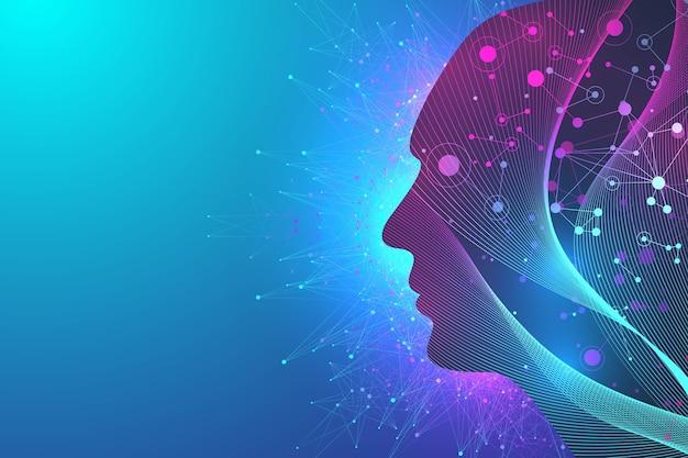 Futuristische kunstmatige intelligentie en machine learning-concept. menselijke big data-visualisatie. wave flow communicatie, wetenschappelijke illustratie.