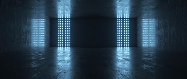 Futuristische lege donkere kamer met licht en reflectieachtergrond. 3d-weergave.