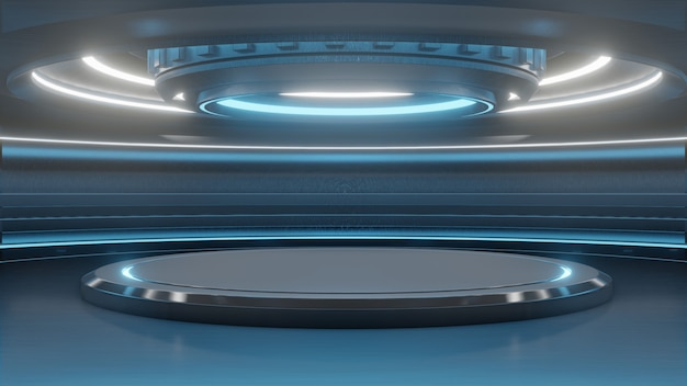 Futuristische lege tribune voor moderne toekomstige achtergrondtechnologie sc.i-fi