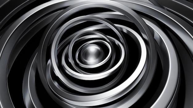 Futuristische metallic zwarte achtergrond met ringen. 3d-afbeelding, 3d-rendering.