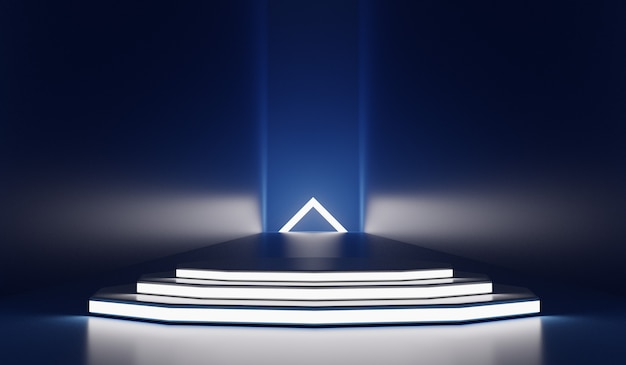 Futuristische moderne achtergrond met leeg podium. toekomstig modern interieurconcept. 3d-weergave.