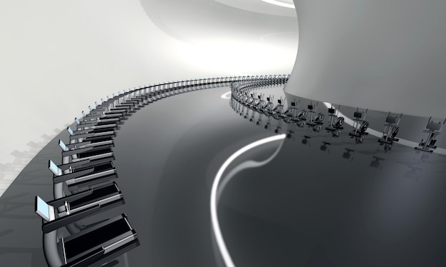 Futuristische moderne fitnessruimte met loopband en elliptische trainer