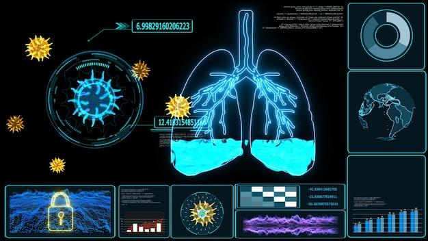 Futuristische monitor van longoedeem is een aandoening die wordt veroorzaakt door abnormaal vocht in de longblaasjes. resulterend bij patiënten met ademhalingsmoeilijkheden of ademnood als gevolg van zuurstofgebrek
