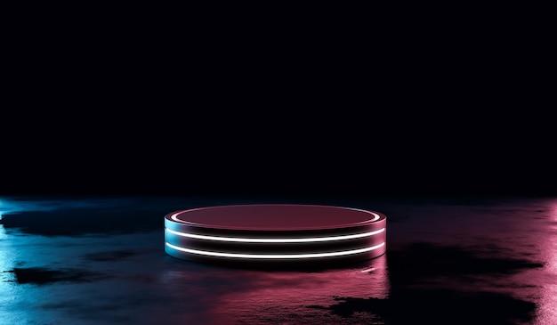 Futuristische neonlicht product achtergrond podium of podium sokkel op grunge straat vloer met gloed spotlight en leeg display platform. 3d-weergave.