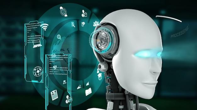 Futuristische robot, kunstmatige intelligentie cgi big data-analyse en programmeren