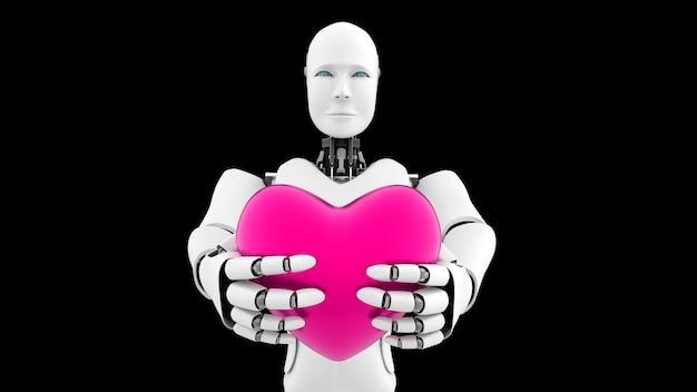 Futuristische robot, kunstmatige intelligentie cgi op zwarte achtergrond