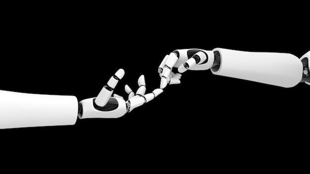 Futuristische robothanden die elkaar raken