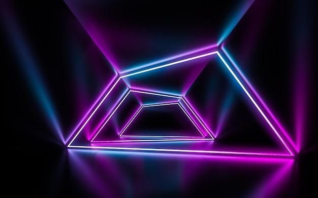 Futuristische sc.i. fi blauwe en purpere neonbuislichten die met bezinningen lege ruimte gloeien.