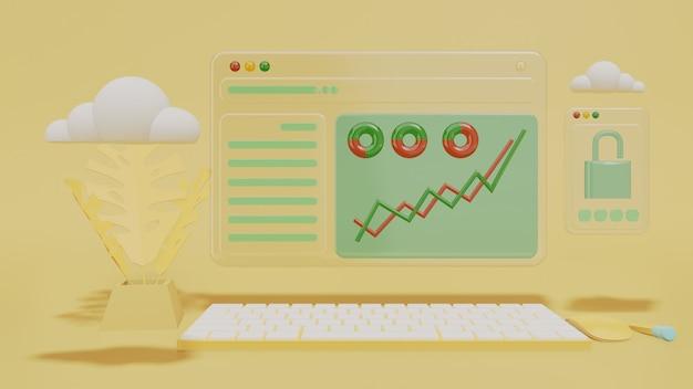 Futuristische schermcomputer transparant met bedrijfsanalyse