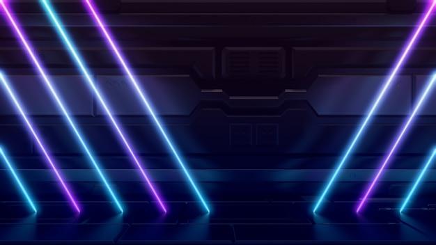 Futuristische sci-fi abstracte blauwe en paarse neonlichtvormen op reflecterend metaal