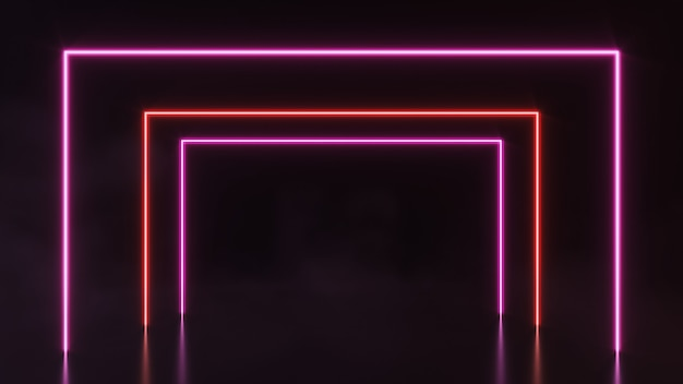 Futuristische sci fi abstracte neonlichtvormen op zwarte achtergrond. 3d-weergave