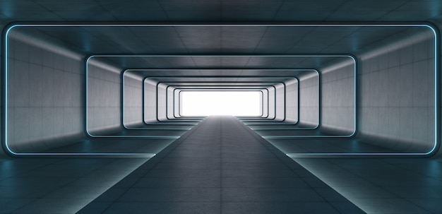 Futuristische sci fi blauwe neon buis lichten gloeien in betonnen kamer.