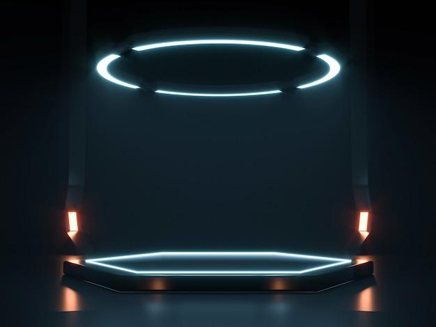 Futuristische sci fi empty stage neon. 3d-weergave