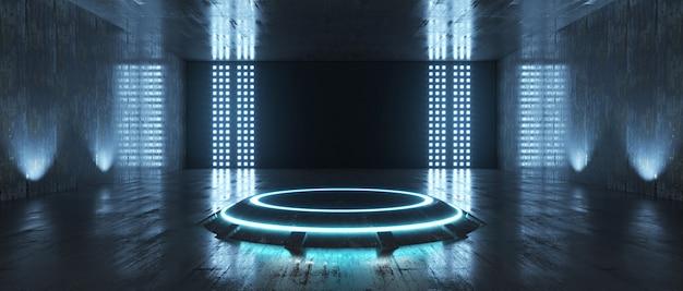 Futuristische sci fi empty stage neon in een kamer met schijnwerpers en reflecterende muren. 3d-weergave