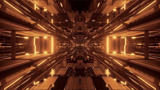 Futuristische sci-fi ruimtetunneldoorgang met gloeiende glanzende lichten
