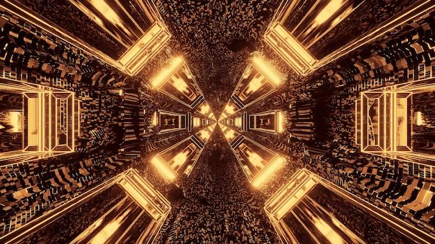 Futuristische sciencefiction ronde korrelige tunnelgang met bruine en gouden lichten