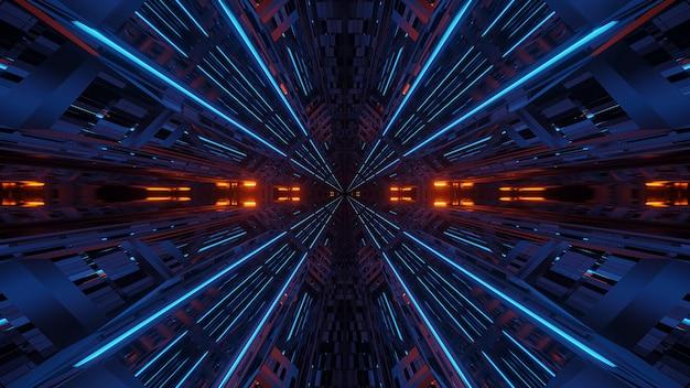 Futuristische symmetrie en reflectie abstracte achtergrond met oranje en blauwe neonlichten