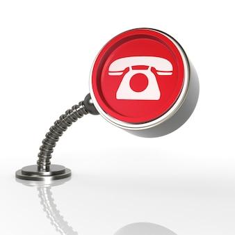 Futuristische telefoon knop concept. 3d-renderingpictogram...