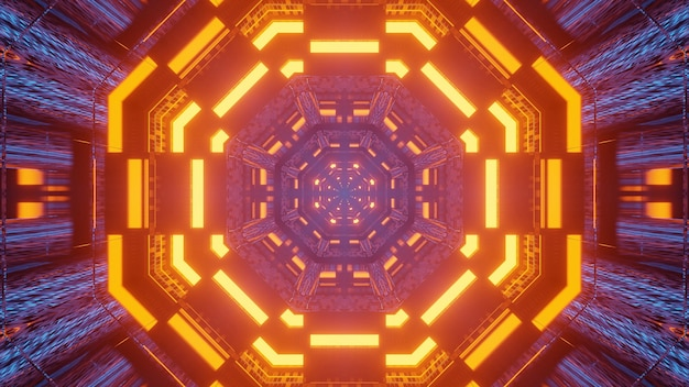 Futuristische tunnel gang neonlichten achtergrond