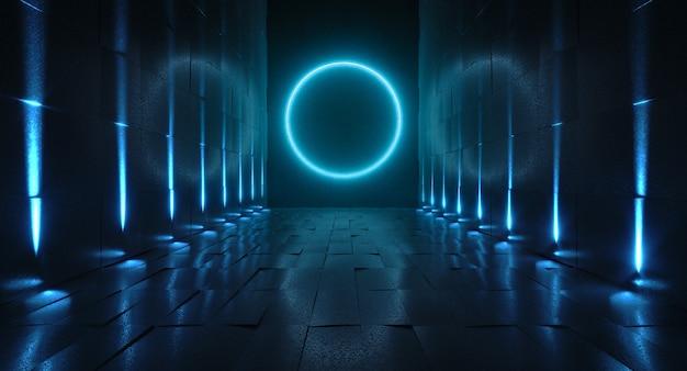 Futuristische tunnel met licht, binnenaanzicht. futuristische achtergrond
