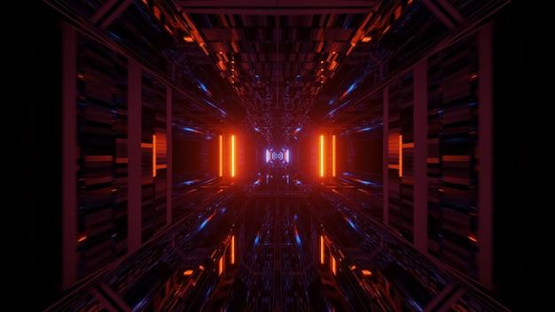 Futuristische tunnelgang met gloeiende neonlichten, een 3d-rendering achtergrondbehang