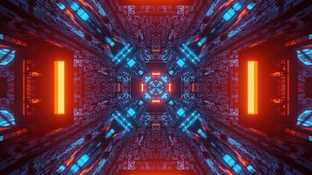 Futuristische tunnelgang neonlichten