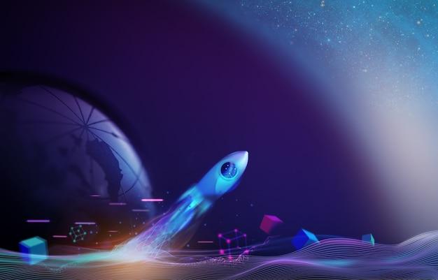 Futuristische valuta conceptuele foto. technologie van blockchain en crypyocurrency. raketstart en vrijgegeven van de aarde naar de ruimte. missie naar de maan. beginnend bedrijf