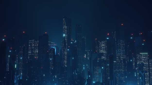 Futuristische virtuele sci fi-stad.