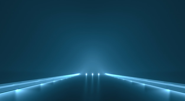 Futuristische wegachtergrond met lichte verlichting