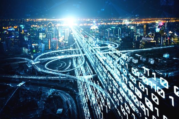 Futuristische wegtransporttechnologie met grafische gegevensoverdracht