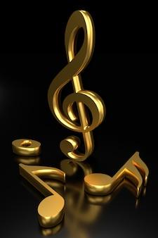 G-sleutel en muzieknotatie. 3d-rendering.