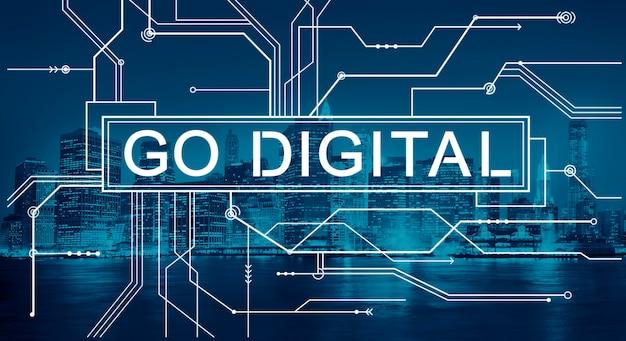 Ga digitaal met draden op de achtergrond van de stad new york