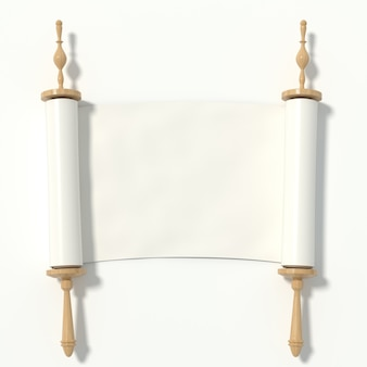 Ga naar het witboek op de houten roller, geïsoleerd op een witte achtergrond. 3d-rendering.