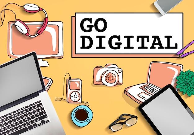 Ga voor digitaal elektronicatechnologieconcept