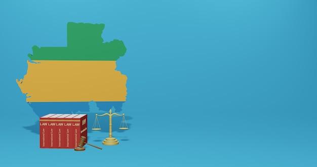 Gabon wet voor infographics, sociale media-inhoud in 3d-weergave