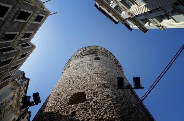 Galatatoren is een beroemd oriëntatiepunt in de europese kant van istanboel - beeld