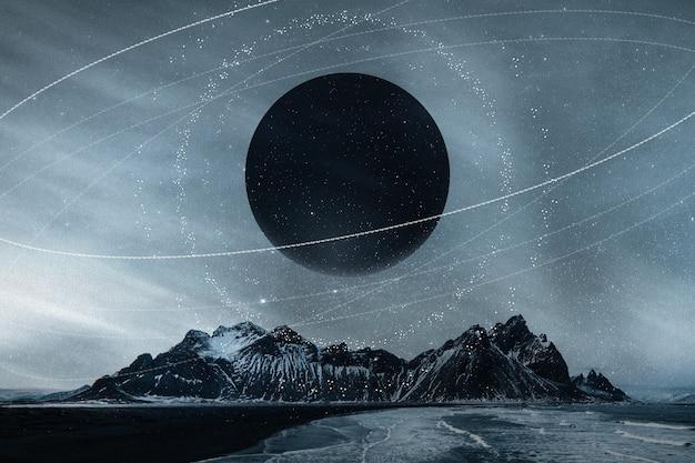 Galaxy natuur esthetische achtergrond sterrenhemel berg geremixte media