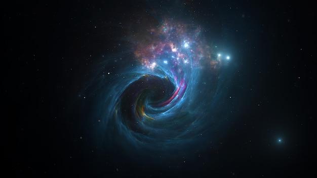 Galaxy sterren planeten sterclusters, gekleurde gaswolken in abstracte ruimte. ruimte. ruimte nevel. 3d render