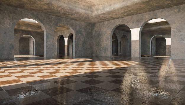 Galerij van oneindige betonnen bogen met marmeren tegelvloeren